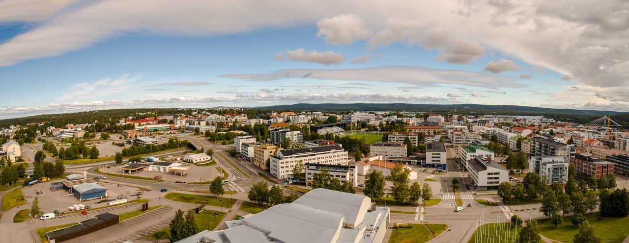 Wide panoramic aerial view of Rovaniemi on a sunny summer day Cloud - Sky Architecture Built Structure Building Exterior City Sky Building Cityscape High Angle View Residential District Day No People Aerial View Road TOWNSCAPE Urban Skyline Urban City Cityscape Drone  Rovaniemi Finland Home Street Urban Landscape Wide Panorama Panorama Panoramic Horizon