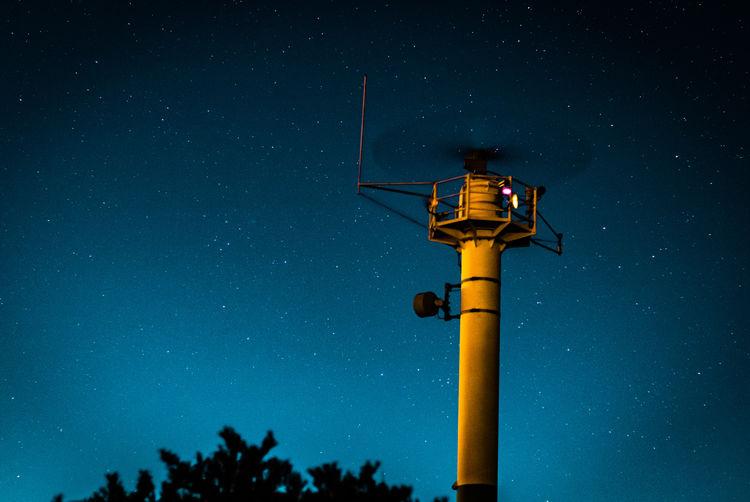 Radar tower and stary sky