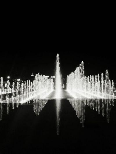 In the night Fountain Sofia, Bulgaria Night Sky Entertainment Abstract