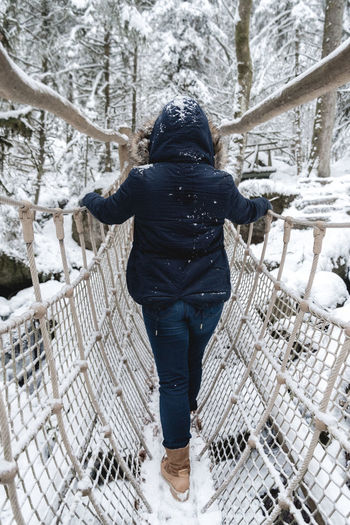 DontFall Adult Adults Only Beauty In Nature Cold Temperature Day Full Length Human Body Part Nature One Person Outdoors People Real People Rear View Snow Tree Warm Clothing Winter Winter