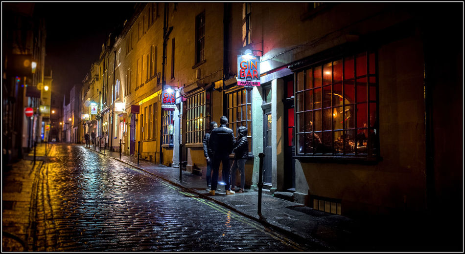 Gin Bar in Bath Bath Building Exterior Gin Bar Illuminated Night Night Photography People Saturated Color