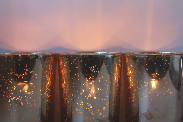 Glowing Candles Copy Space Flame Holiday Light Tranquility Background Fire Frame Glass Glow Illuminated Mercury Glass Three