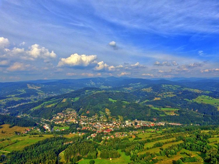 Aerial View Agriculture Beauty In Nature Blue City Cloud Cloud - Sky Distant Farm Green Color Growth Jablonec Nad Jizerou Landscape Mountain Nature Outdoors Residential District Rural Scene Scenics Sky Town Tranquil Scene Tranquility Wide Wide Shot