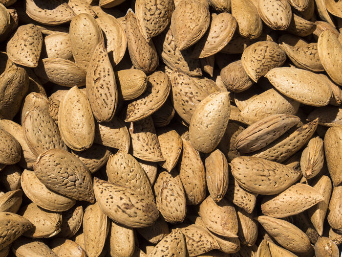 Full frame shot of dried almonds for sale at market stall during sunny day