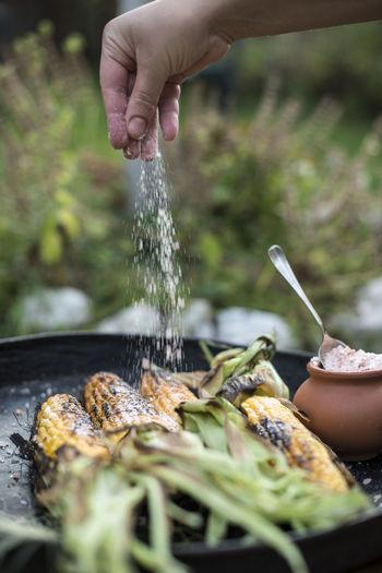 Cropped hand sprinkling salt on corns