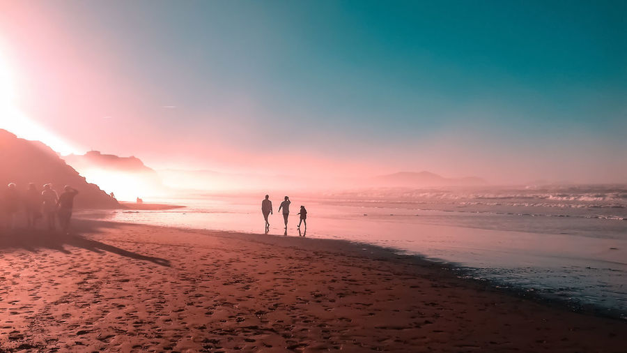 Friends Walking On Shore At Beach Against Sky During Sunset