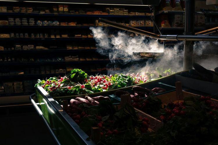 Sunlight falling on vegetables in supermarket
