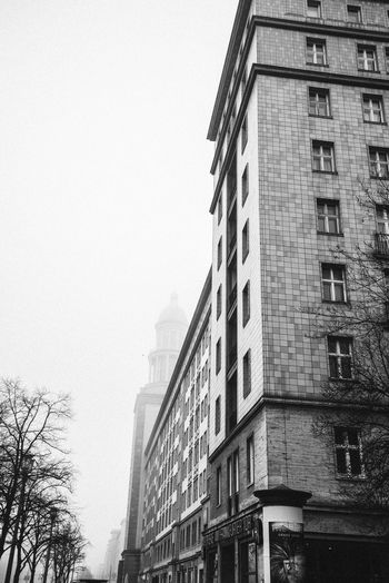 Architecture Blackandwhite Blackandwhite Photography Building Exterior Built Structure City Day Foggy Foggy Mornings Foggy Weather Frankfurter Allee Karl Marx Allee Low Angle View No People Outdoors Sky Skyscraper Stralauer Allee Tower