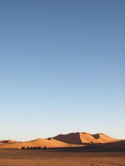 Scenic view of desert landscape against clear sky