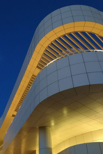 The Getty Center looks like what I imagined cities would look like in the future, when I was small. The Architect - 2017 EyeEm Awards Architecture Modern Night No People Sky Outdoors Curves And Shapes Curves Blue Sky