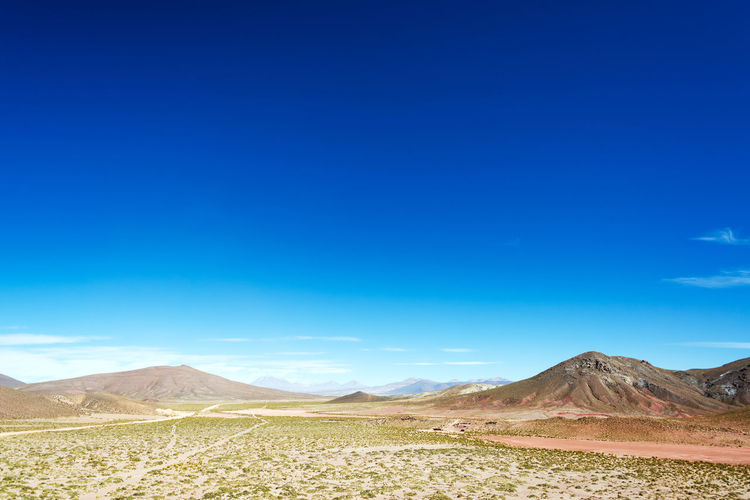 Scenic view of landscape against clear blue sky on sunny day
