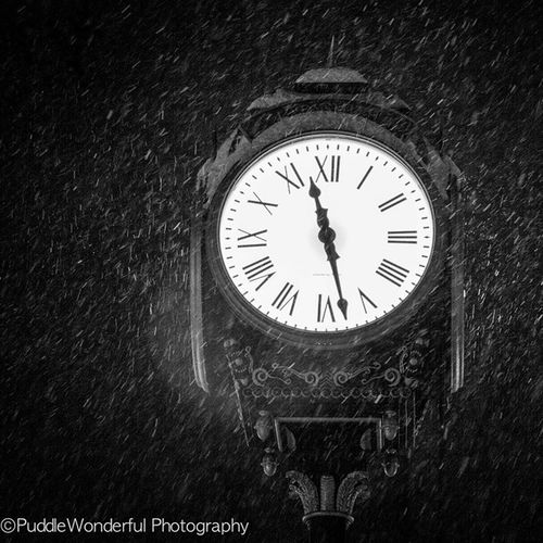 Sneak peak the rest are going on the blog tomorrow Snow Blackandwhitephotography Clocks PuddleWonderful nightshoot