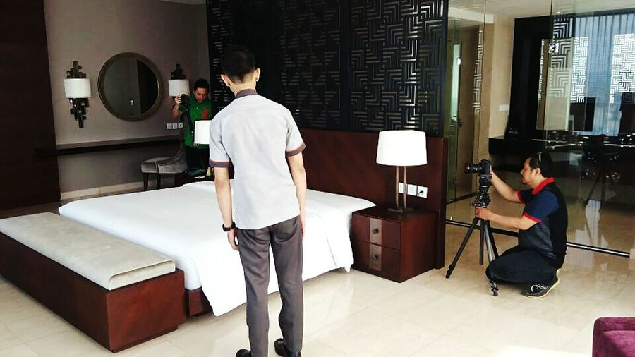 """Shooting time for promotion this property. Loc: President suites room """"The Luxton Crb"""" .. so proud to ma self 😁😁😁 *wkwks_selfish Standing Full Length Daily Evening EyeEm Taken Powerlifting Cheese! Headshot Finally Cheerful Follows Tagsforlikes Looking At Camera Cirebon  Camera New Real Hotel Hoteliers Property Market"""