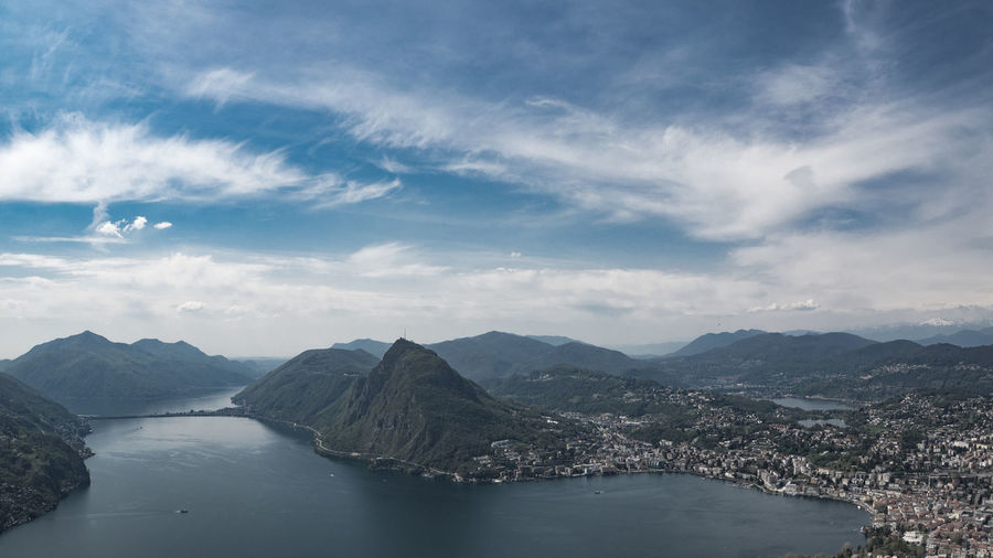 view from monte bré on lugano Cloud - Sky Sky Scenics - Nature Water Beauty In Nature Mountain Tranquility Nature Tranquil Scene No People Mountain Range Day Non-urban Scene Environment Architecture Outdoors Idyllic River Built Structure Tourism View