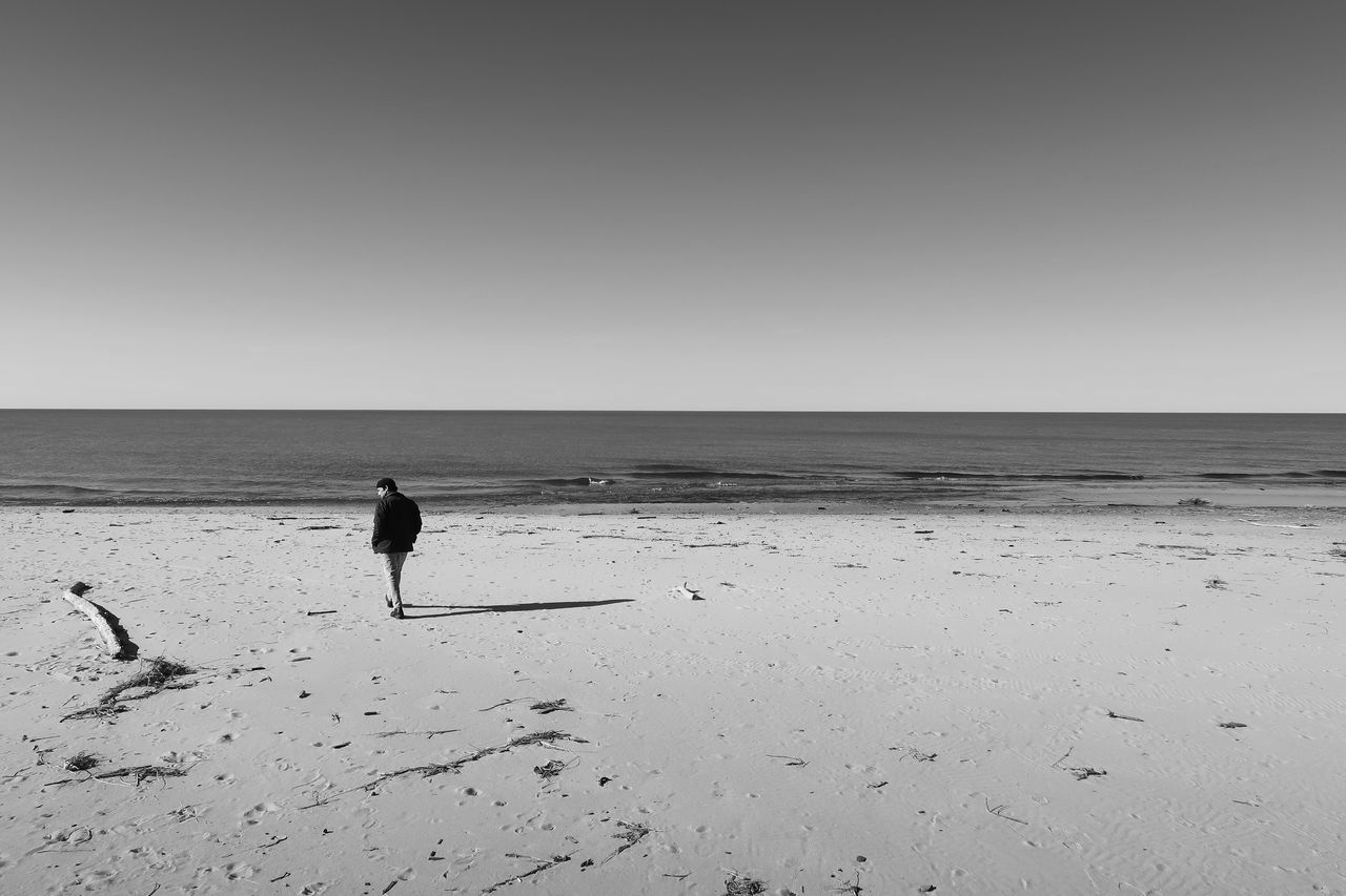 FULL LENGTH OF MAN ON BEACH AGAINST CLEAR SKY