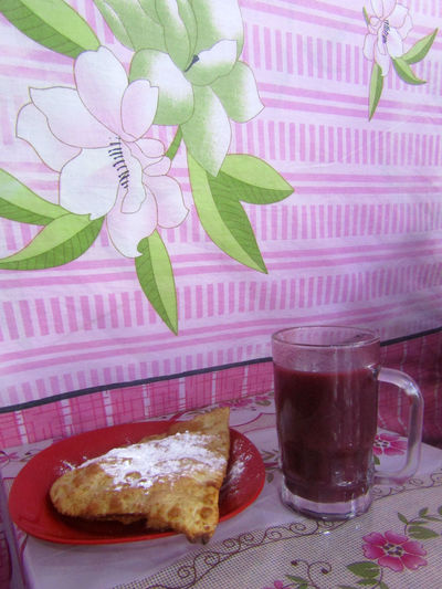 Api Morado (red corn drink) con pastel de Queso. Api Con Pastel Food And Drink Freshness Drink Refreshment Table Food Glass No People Still Life Pink Color Drinking Glass Nature Close-up Api Snack Sweet Pink Floral Pattern Temptation Pastry Ready-to-eat Meal Non-alcoholic Beverage