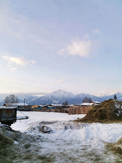 Beautiful village with mountain views in the republic of buryatia in russia