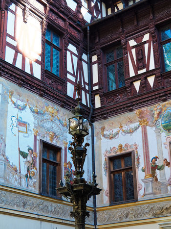 Painted Walls Human Representation Creativity Architecture Built Structure Building Exterior Building Painted Wall Painted Image Wall Art The Past Travel Photography Colourful Historical Building Historical Place Eyem Gallery Low Angle View Window No People Outdoors Ornate History Sinaia