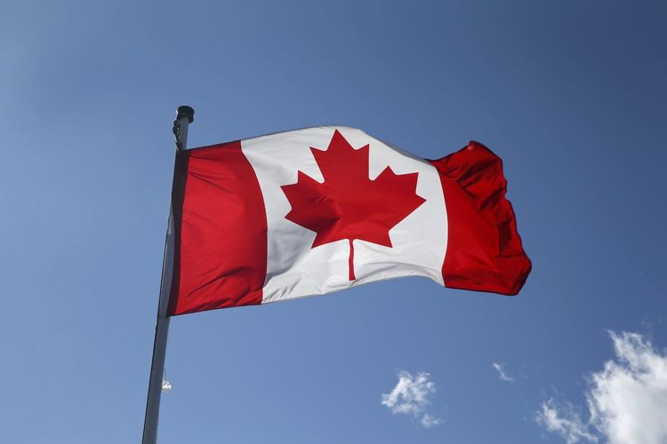 Canadian flag, blowing in the wind, with the sun providing backlighting. Canadian Patriotic Blue Canada Canada Coast To Coast Day Flag Flag In The Wind Low Angle View Maple Leaf National Flag No People Outdoors Patriotism Red Sky Wind