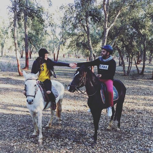 Michou Love ♥ Horseback Riding Horse Riding Tree Full Length Domestic Animals Two People