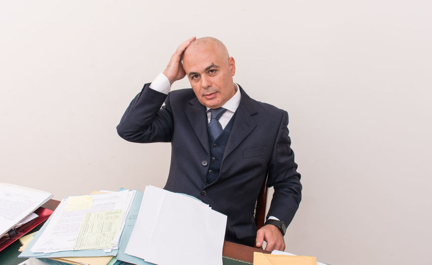 Bald Eagle Adult Adults Only Bald Bald Head Bald Man Baldeneysee Baldhead Balding Baldness Business Businessman Indoors  Mature Adult Mature Men Men Occupation One Man Only One Person Only Men People Suit Well-dressed White Background