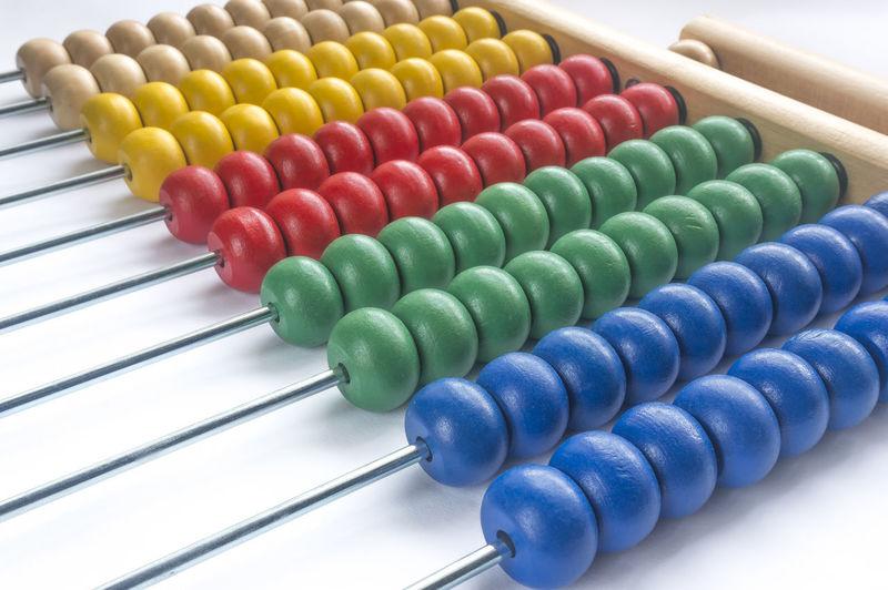 Close-up of multi abacus calculator