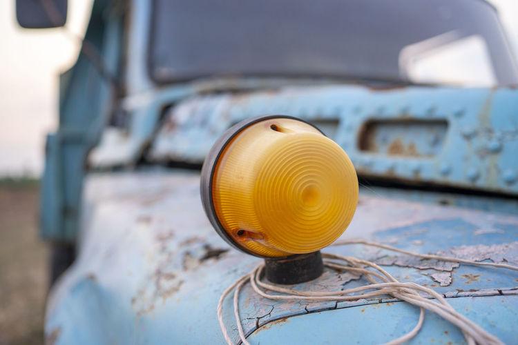 Antique yellow light turning truck light