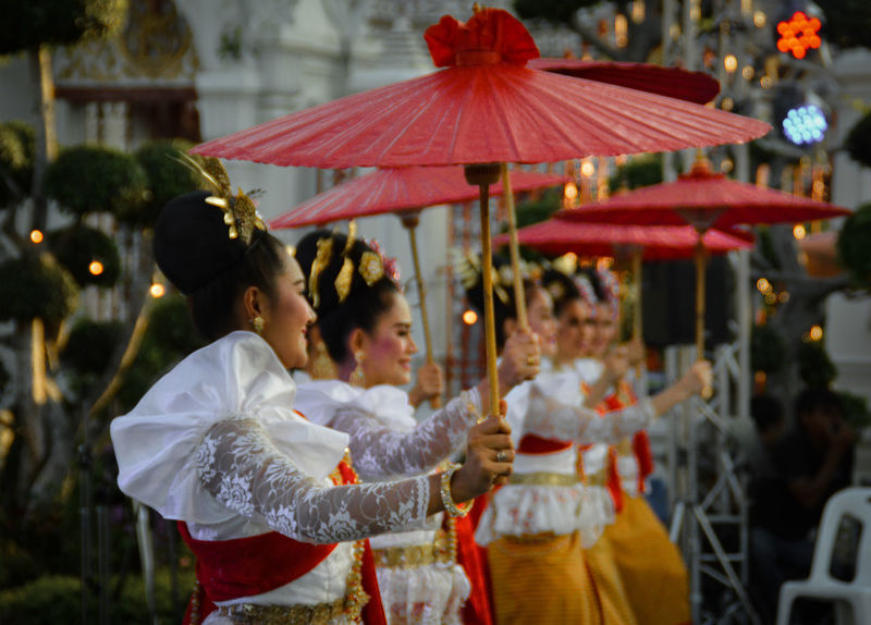 Lakhon Thai Dance Lakhon Thai Traditional Red Only Women Dancers Performers Songkran Festival Bangkok, Thailand Travel Destinations Travel Photography Red Umbrellas Beautiful Dancers Eyeem Philippines Culture And Tradition Culture And Entertainment The Week On EyeEm