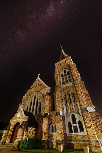 C H U R Architecture Low Angle View Religion Outdoors Church Star Field Galaxy Scenics Night Nebula Milkyway Star Photography Star Nightscape Nightphotography Check This Out Taking Photos EyeEm Gallery EyeEm Best Shots