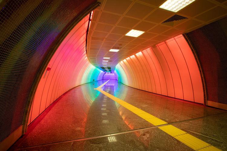 View of illuminated subway tunnel