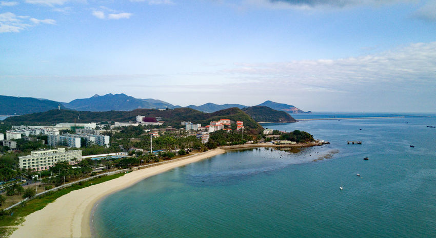 Beach China Drone  Flying High Sanya Scenics Sea Sky Tourist Resort Tranquility Water