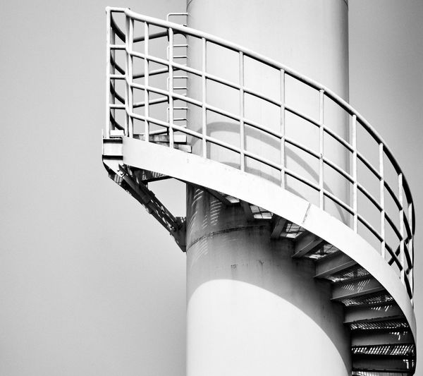 Cau Cau Bridge Tower... Stairs Architecture Blackandwhite Building Exterior Built Structure Clear Sky Copy Space Day Fuel And Power Generation Low Angle View Metal Minimalism Nature No People Outdoors Pattern Railing Scenics Sky Spiral Spiral Staircase Staircase Steps And Staircases Tower Wall
