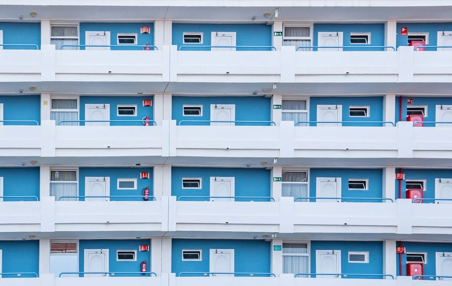 Just Some More Little Boxes Façade Façade City Living Little Boxes White Blue Window Architecture Residential Building Balcony Day Full Frame Building Exterior Outdoors Built Structure City The Architect - 2018 EyeEm Awards