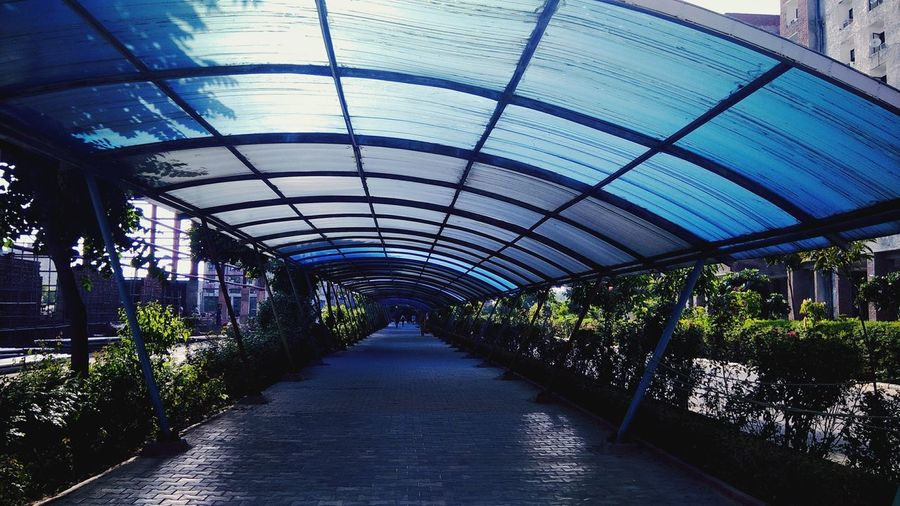 Covered walkway in city