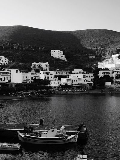 Monochrome Photography Clear Sky Nautical Vessel Water Mountain Day Outdoors No People Boat Sea Holiday Greece Blackandwhite Black And White Photography