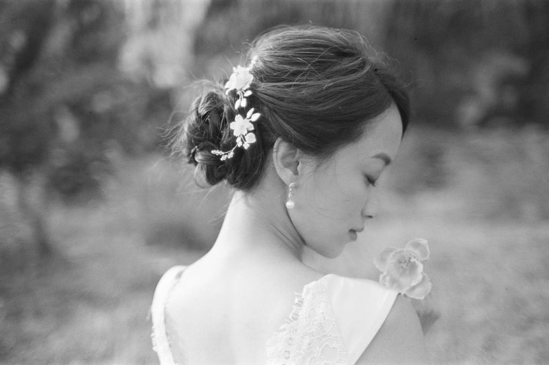 One Person Headshot Focus On Foreground Real People Women Newlywed Young Adult Flowering Plant Bride Lifestyles Portrait Leisure Activity Flower Young Women Wedding Wedding Dress Day Plant Adult Beautiful Woman Hairstyle Wearing Flowers Outdoors Wedding Wedding Photography Wedding Ceremony Asian  Asian Girl Blackandwhite Black And White Film Film Photography Filmisnotdead Eyes Closed