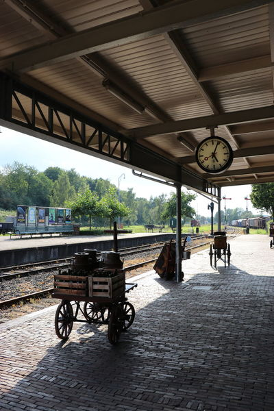 Transportation Bicycle Built Structure Day No People Outdoors Train Station Traintracks Trainphotography Train - Vehicle Luggage Cart  Luggage, Travel  Luggage Trolleys Luggage Vintage Style Architecture Clock Sky