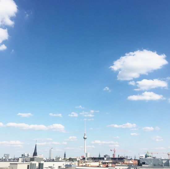 View of city against blue sky