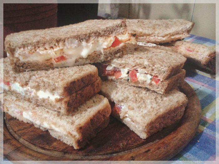 Sandwich mania. Boiled eggs, tomato and mozzarella. Brown Bread Tramezzini Sandwiches Sandwich Smartphone Photography Mobilephotography S3 Mini Bread Plate SLICE Close-up Food And Drink Sliced Bread Wholegrain