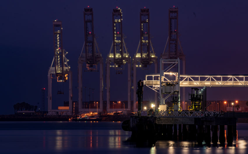 Illuminated commercial dock at night
