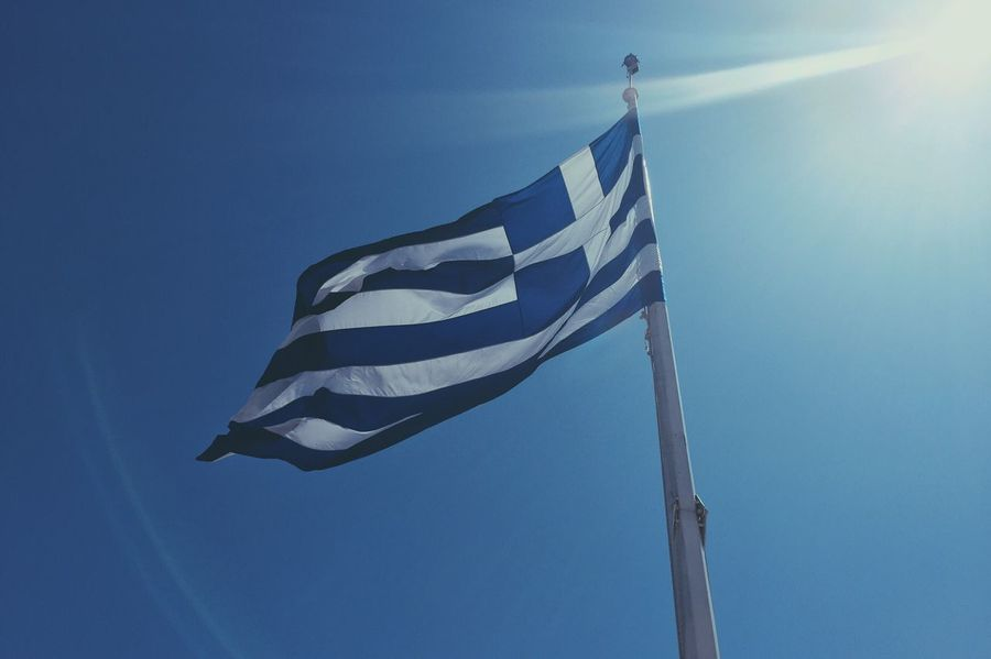 Greek Flag Flag Flags In The Wind  Greek Greece Blue Wave