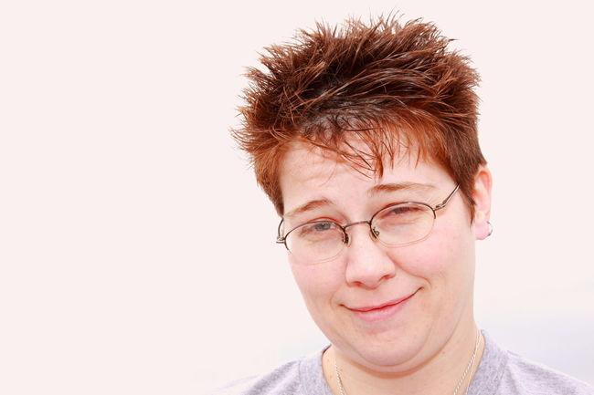 Queer Women Genderqueer Genderfluid Gender Confidence  Cute Glasses Handsome Headshot Human Face Lesbian Lgbt Mid Adult Orange Orange Hair Person Portrait Red Hair Shorthair Smiling White Background Woman