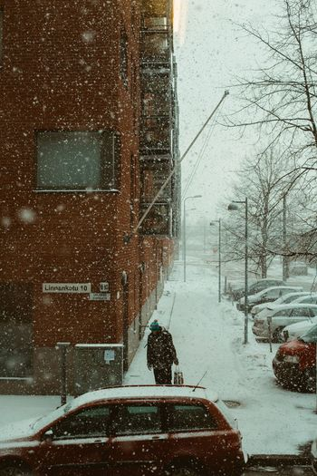 Portrait Of A Man  One Man Walking One Man Street Photography Real People Street Portrait City In Winter Snowfall Snow Cold Temperature Winter Nature Snowing Transportation Built Structure It's About The Journey
