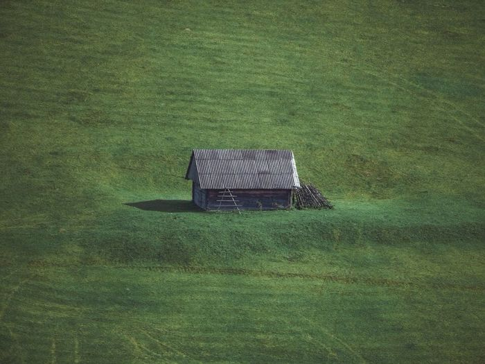 High angle view of abandoned built structure on field