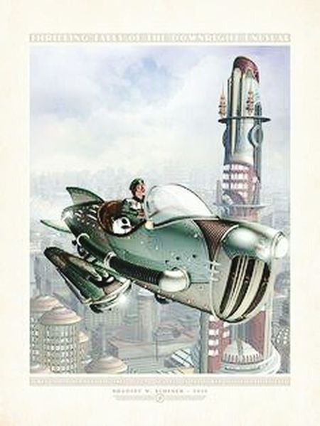 Like my painting Steampunk Concept Art Dieselpunk Raypunk Future Past 1930s Future Futuristic Urban Dystopian Peaceful Space Age