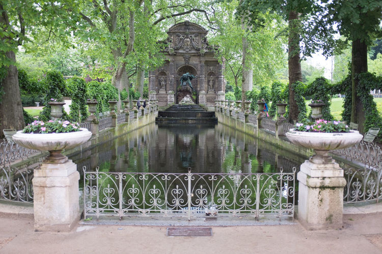 The Medeci fountain in the Luxembourg gardens in Paris, France Medeci Paris Jardin Du Luxembourg Luxembourg Gardens Ancient Architecture Reflection Baroque Style Park Fountain France French Tourism Travel Trees