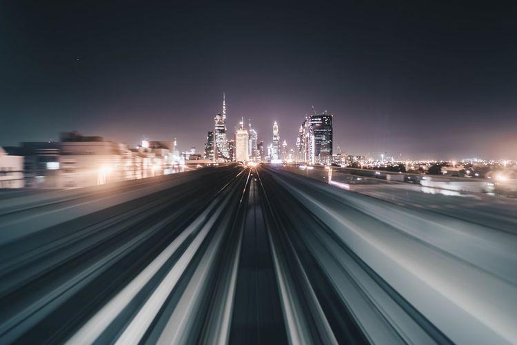 Light trails on bridge at night
