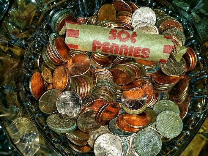 counting pennies Collection Piggy Bank Savings Financial Finance USA Currency American Bowl Glass Copper  Rich Prosperity Save Backgrounds Full Frame Close-up Assortment Abundance Money Us Currency Coin Coin Bank
