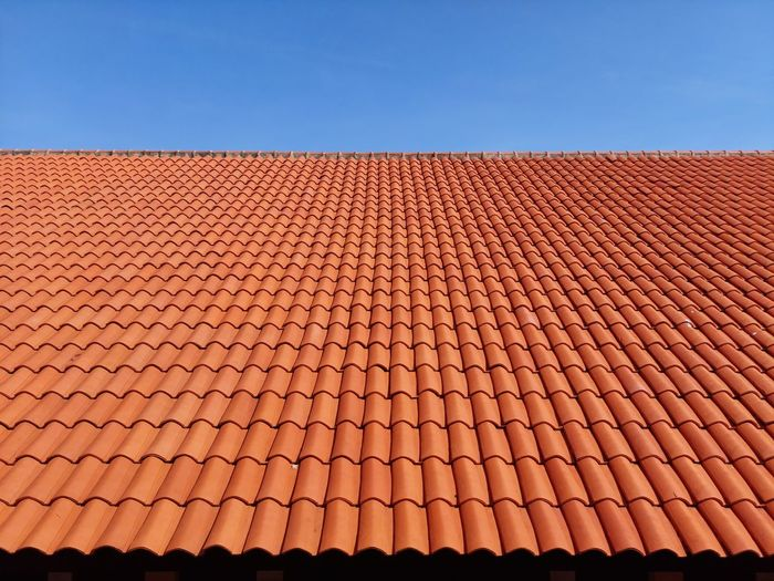Roof of building against clear sky