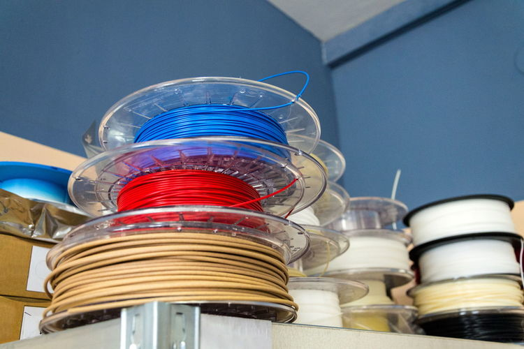 Low angle view of plastic wires